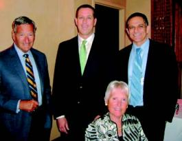 "L-to-R: Mr. Richard ""Dick"" Elkus, Visiting Professor Clark A. Rosen, MD, Mrs. Helen Elkus, Lectureship Chair Mark Courey, MD"