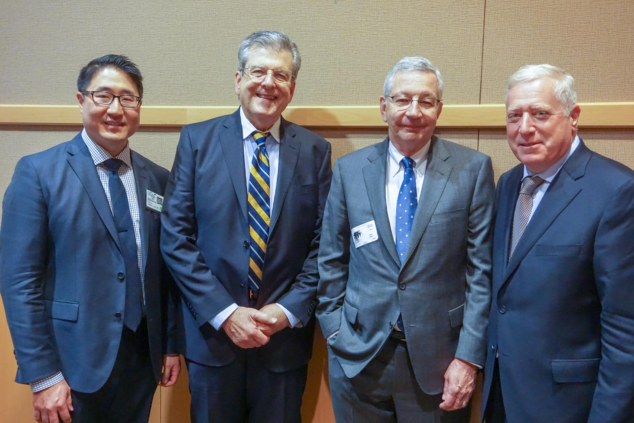 Schindler Lecture (L-R): Charles Limb, MD, Robert A. Schindler, MD, Clough Shelton, MD and Andrew Murr, MD