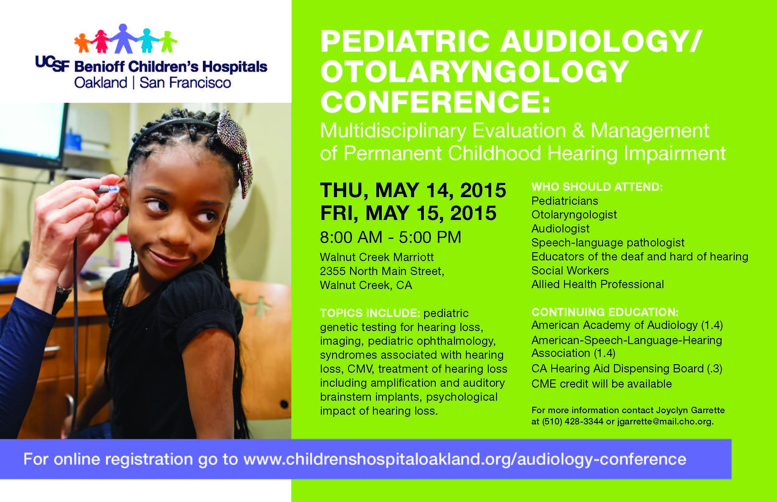 Ucsf Benioff Childrens Hospitals Pediatric Audiologyotolaryngology